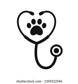 Stethoscope silhouette with animal paw print symbol. Veterinary medicine logo, isolated vector illustration.