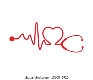 Stethoscope and a silhouette of the heart and ECG. vector Illustration