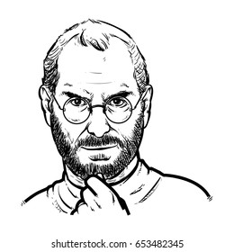 Steve jobs Hand Drawing outline, Steve jobs vector illustration