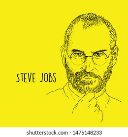 Steve Jobs Portrait Line art technique hand drawing