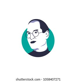Steve Jobs vector illustration isolated, suitable for your startup content