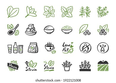 Stevia icon set. hand drawn doodle icons cartoon logo vector and illustration