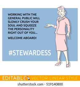 Stewardess about soul and personality. Meme card. Editable outline sketch. Stock vector illustration.