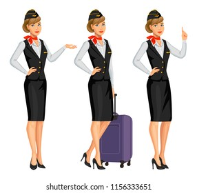 Stewardess in black uniform. Flying attendants, air hostess. Profession stewardess, cartoon character. Vector illustration