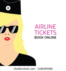 stewardess blonde in black uniforms art with booking online ticket