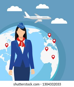a stewardess in blue uniform against the background of the world map. Airline travel. Stewardess in elegant uniform, welcoming passengers vector illustration. Woman occupation concept.