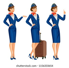 Stewardess in blue uniform. Flying attendants, air hostess. Profession stewardess, cartoon character. Vector illustration