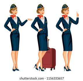 Stewardess in blue uniform. Flying attendants, air hostess. Profession stewardess, cartoon character. Vector illustration