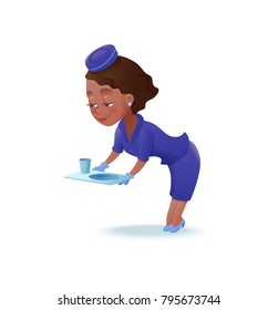 Stewardess cartoon character, airline crew member, cute african girl in blue uniform serving food, vector illustration