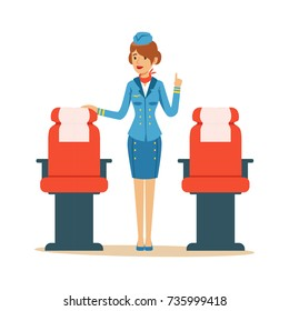 Stewardess character in blue uniform serving passengers on the airplane, flight attendant on airplane vector Illustration