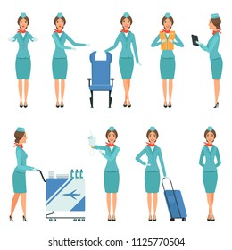 Stewardess characters. Various mascots in action poses. Airport and flight workers. Flight airline hostess, attendant in uniform service, vector illustration
