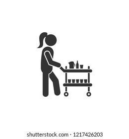 Stewardess with drinks icon. Element of airport icon for mobile concept and web apps. Detailed Stewardess with drinks icon can be used for web and mobile