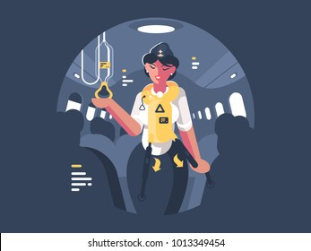 Stewardess explains safety on board aircraft for passengers. Vector illustration