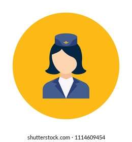 Stewardess flat icon isolated on yellow background. Simple Stewardess symbol in flat style. Aviation symbols Vector illustration for web and mobile design.