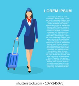 Stewardess Holding Suitcase. flying attendants ,air hostess , Vector illustration.Profession: stewardess.