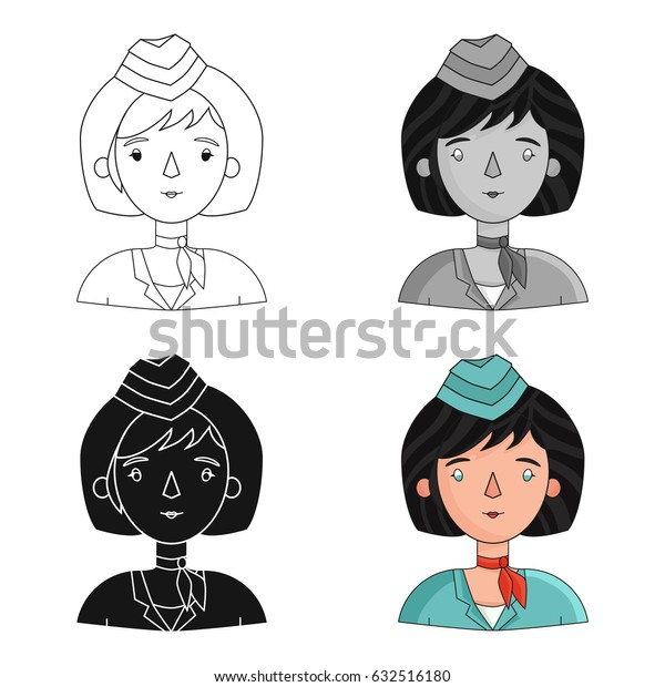 Stewardess icon in cartoon style isolated on white background. People of different profession symbol stock vector illustration.