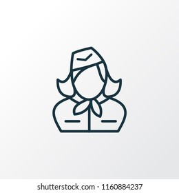 Stewardess icon line symbol. Premium quality isolated hostess element in trendy style.