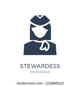 stewardess icon. Trendy flat vector stewardess icon on white background from Professions collection, vector illustration can be use for web and mobile, eps10