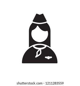 stewardess icon vector. people icon glyph style