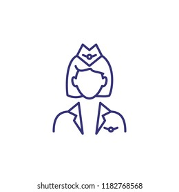 Stewardess line icon. Flight attendant, hostess, crew. Occupation concept. Can be used for topics like aviation, transportation, service
