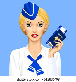 Stewardess with passport and air ticket in hand on blue background. Vector illustration.
