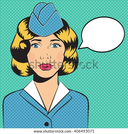 82f3a8c168f Stewardess. Pop art. Style of the comic. Vector isolated illustration.  Cartoon character