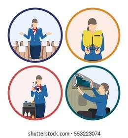 Stewardess serves passengers on the airplane. Attendant woman in uniform. Vector illustration
