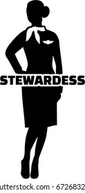 Stewardess with silhouette