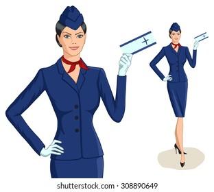 Stewardess with ticket. Vector illustration