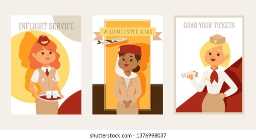 Stewardess vector flight crew beautiful woman character stewardess steward pilot and people traveling flying on airplane airliner in airport illustration backdrop banner design background.