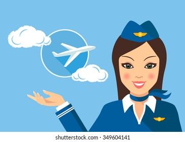 Stewardess woman smiling and pointing to the sky where the plane is flying icon. Colored vector illustration