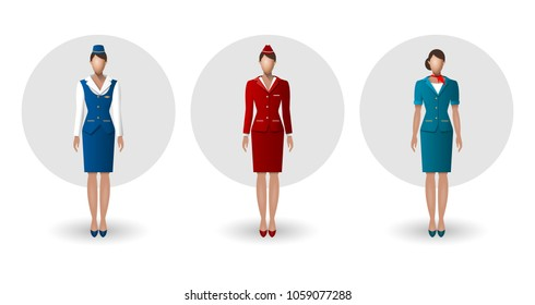 Stewardesses in different uniform, standing in full growth. Vector illustration.