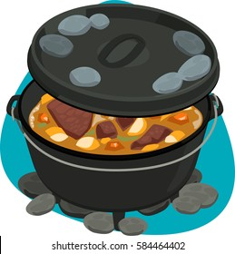 Stewed meat in cast iron dutch oven with coal on lid with ridge. Isolated. On green background.