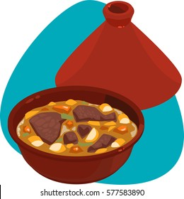Stewed meat dish in red ceramic tagine. Red bowl with top lid. Isolated. On blue background.