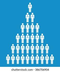 Stick business man pyramid icon set . Vector illustration