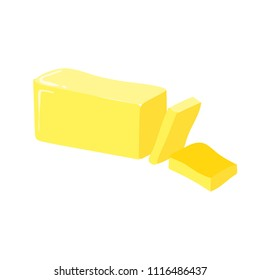 Stick of butter, cut, vector icon. Healthy eating cartoon illustration isolated on white.