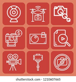 Stick, camera lens, camera, publicity, drone, no photo icon set suitable for info graphics, websites and print media and interfaces
