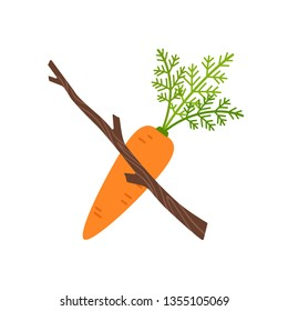 Stick with carrot. vector illustration isolated on white background