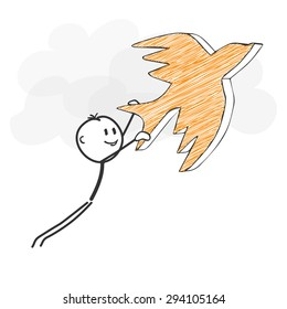 Stick Figure in Action - Stickman Flying with a Bird Icon. Stick Man Vector Drawing with White Background and Transparent, Abstract Three Colored Shadow on the Ground.