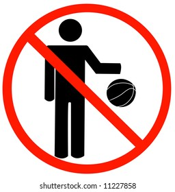 stick figure bouncing ball with not allowed symbol - no playing allowed - vector