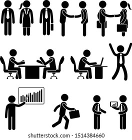 Stick figure business icons set. Vector of stick figures at office isolated