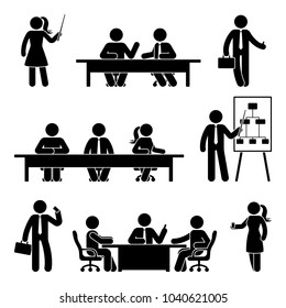 Stick figure business meeting icon set. Vector illustration of finance conversation on white