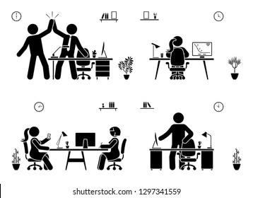 Stick figure business office vector icon pictogram on white. Men and women happy, working, sitting, reporting, writing people silhouette
