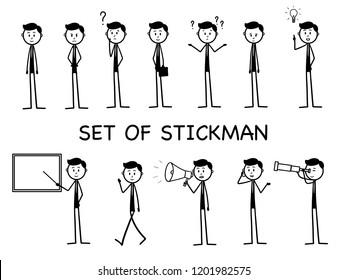 Stick figure Business set  working in office stick figure presentation