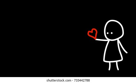 stick figure cartoon vector. free space for text.