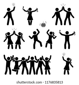 Stick figure celebrating people icon set. Happy men and women dancing, jumping, hands up pictogram