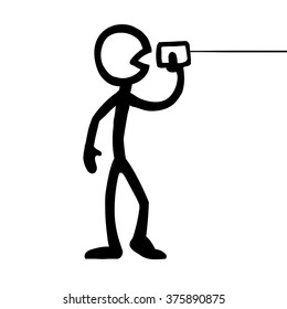 Stick figure Communication Can Phone A