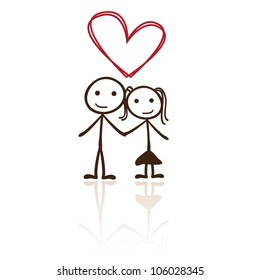 stick figure couple with heart shaped above