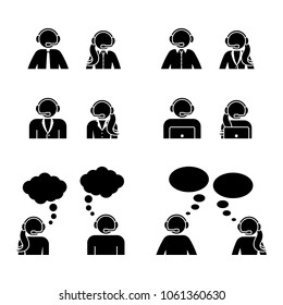 Stick figure customer support center icon set. Vector illustration of man and woman service workers on white