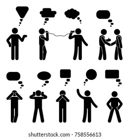 Stick figure dialog speech bubbles set. Talking, thinking, communicating body language man conversation icon pictogram